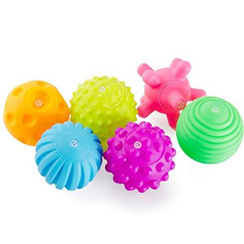 QHKS Bolas de Masaje 6pcs / Set Touch Juguetes balón con la Mano Infantil del bebé de Formación Masaje de Goma Suave Textura Multi sensorial táctil Pinch Pelota de Juguete de la Mano del baño