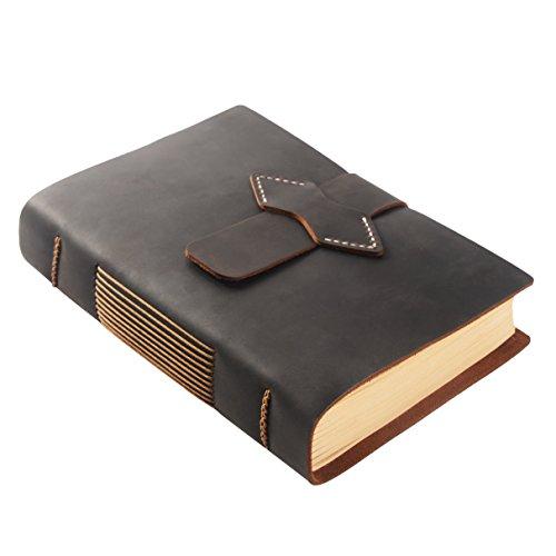 ScrodCat Ledertagebuch, A5-Notizbuch, antik, handgefertigt, ledergebunden, für tägliche Notizen, mit Blanko-Seiten, 20 x 15 cm, ideales Geschenk, Reisetagebuch (Crazyhorse, A5/20x15cm)