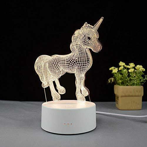 lámpara de mesa led lámpara táctil recargable usb acrílico casa inteligente 3d luz de noche regalo de vacaciones-USB colorido táctil + control remoto_unicornio