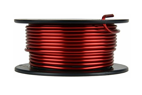 TEMCo 10 AWG Copper Magnet Wire - 8 oz 16 ft 155°C Magnetic Coil Red