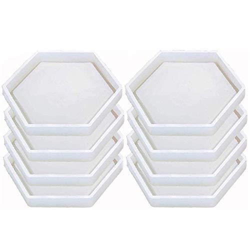 Jcevium 8 paquetes de posavasos hexagonales de silicona con forma de resina de resina de epoxi para fundir con resina, hormigón y cemento.