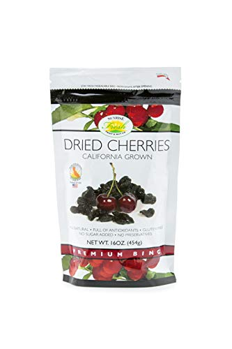 Dried Dark Sweet Cherries, 1lb Bag, Unsweetened, No Added Sugar, Sunrise Fresh Dried Fruit Co.