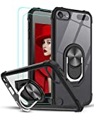 LeYiforiPod Touch 7 Case, iPod Touch 5/6 Case and 2 Tempered Glass Screen Protector, Clear Ring Holder Military Grade Protective Shockproof Tough Silicone Hard Cover for iPod Touch 5th/6th/7th Black