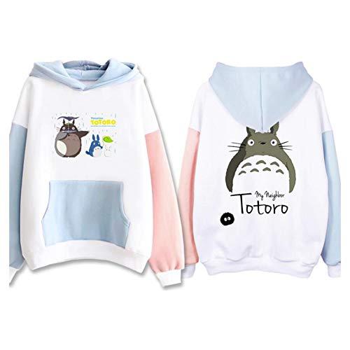 ULLAA Anime Tonari No Totoro Süßes Muster Kostüm Sweatshirt Pullover Oberteile Kapuzenpullover Kanga-Tasche Warm Halten Im Winter,S