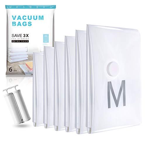 MRS BAG Vakuumier Beutel Kleidung Set aus 6 Jumbo(120 * 80CM) Aufbewahrung Vakuum Kleidung mit Kostenloser DOPPELTE Handpumpe für Kleidung, Bettdecken, Bettwäsche, Kissen, Wolldecken, Vorhänge