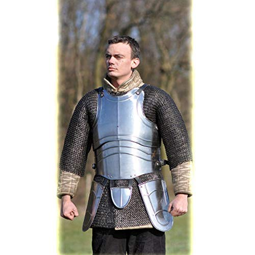 AnNafi Medieval Jousting Knight Body Armor | Cuirass 18g Replica Adult Warrior Guard Silver Costume| Protective Antique King Body Suit
