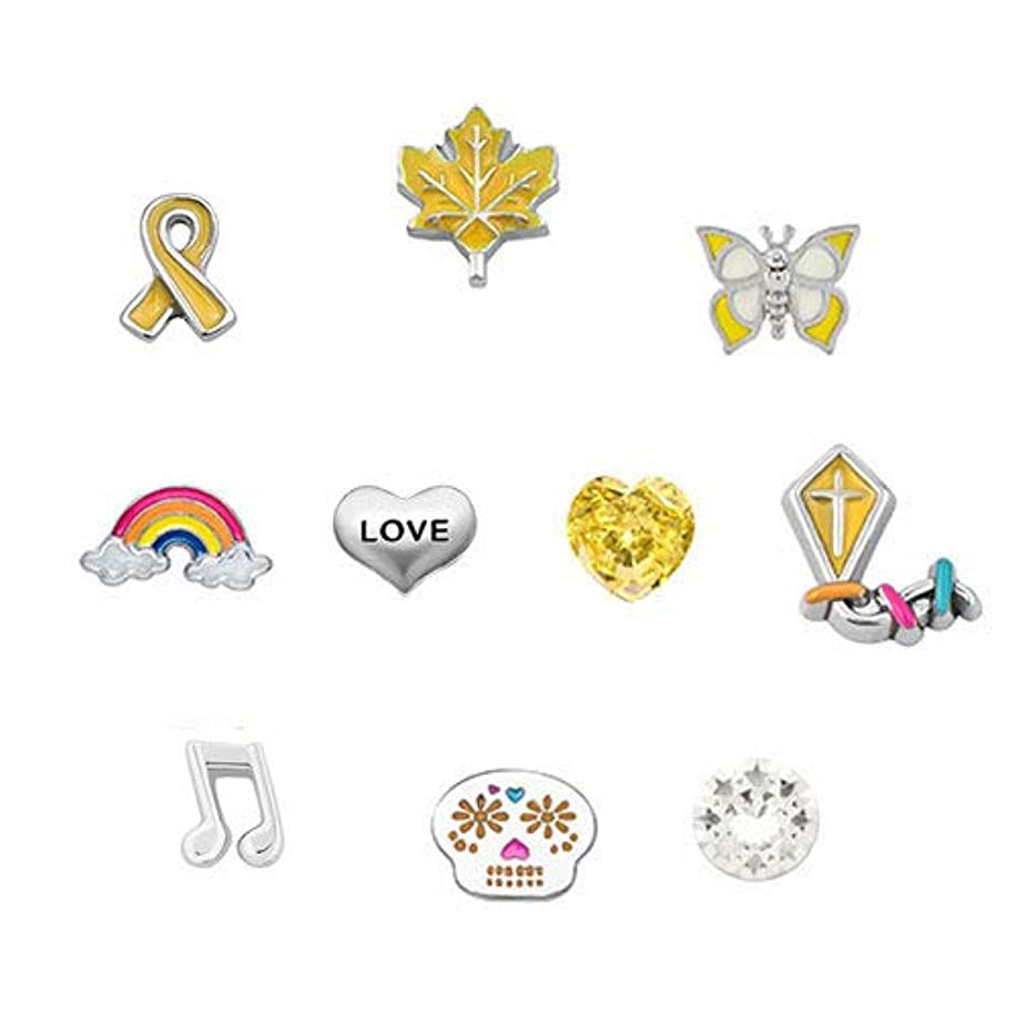 Corykeyes 10pcs Yellow Style Floating Charms Set For Glass Living Memory Lockets