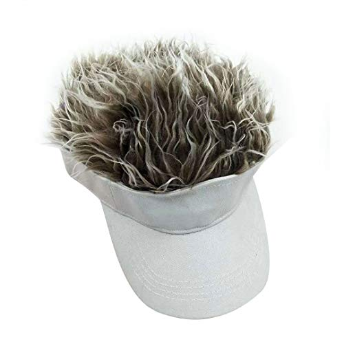 Adult Novelty Sun Visor Cap with Spiked Hairs Wig Peaked Adjustable Baseball Hat (White Brown)