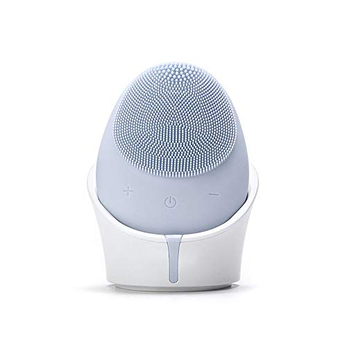 Mini brosse de nettoyage faciale en silicone, recharge sans fil étanche et portable pour le nettoyage et le retrait du visage, les points noirs et exfoliant et massant, en forme d'oeuf,Green