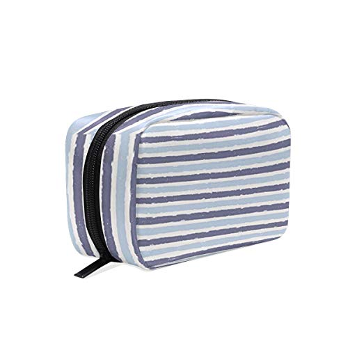 DoubleCW Harbour Stripe Makeup Bag Travel Cosmetic Bag for Women Nylon Cute Makeup Case Professional Cosmetic Train Case Organizer for Cosmetics Make Up Tools Toiletry Jewelry