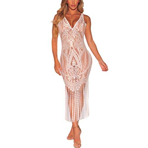 HANMAX Damen Strandurlaub Etuikleid Bikini Cover Up Transparent Spitze Poncho Sommerkleid Beachwear Langtop