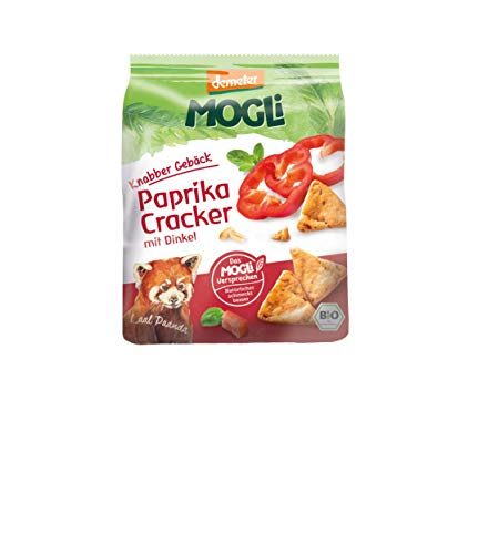 MOGLi Bio Demeter Dinkel Paprika Cracker 6er Pack (6x80g) vegan u. ohne Palmöl