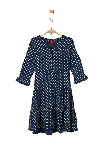 s.Oliver Junior Mädchen kurz Kleid, 57B9 dark blue AOP, 164/REG