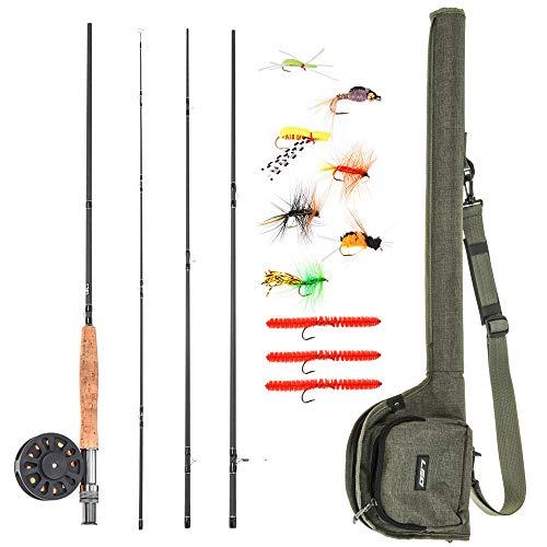 Lixada Combo Caña y Carrete para Pesca con Mosca 2.74m con 10pcs Anzuelos de Pesca con Mosca Kit Completo de Pesca para Principiantes ✅