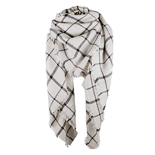 Zando Stylish Fall Winter Scarf Large Thick Scarves Wrap Cotton Oversized Scarf Women Tartan Plaid Blanket Scarf Cape Scarfs for Women Beige Black Stripe Scarves