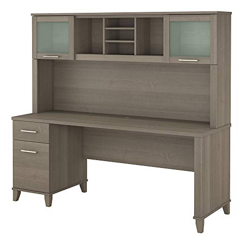 Bush Furniture Somerset Office Desk with Drawers and Hutch, 72W, Ash Gray (Kitchen)