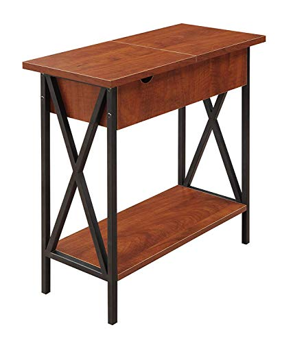 Convenience Concepts Tucson Flip Top End Table with Charging Station and Shelf, Electric, Cherry/Black