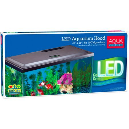 Aqua Culture LED Hood for 10 Gallon Aquariums with Long-life LED, Low-profile hood