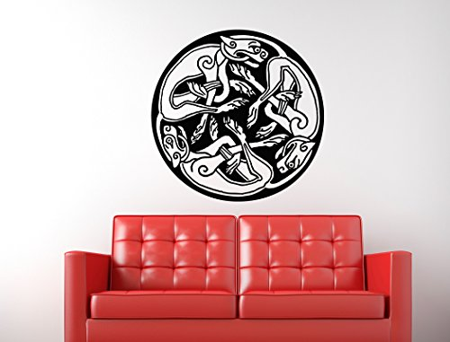 Celtic Dogs Circle Design Wall Decal - 24' x 24'