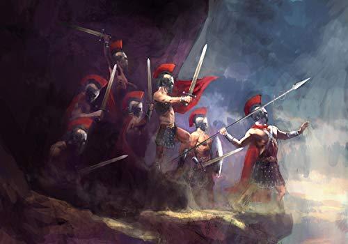 wandmotiv24 Fototapete Griechisches Gemälde mit Kriegern M 250 x 175 cm - 5 Teile Fototapeten, Wandbild, Motivtapeten, Vlies-Tapeten Kunst Griechenland M5947
