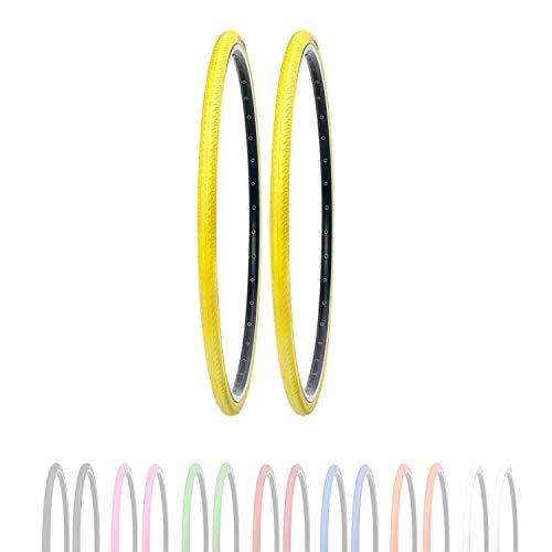 P4B Neumáticos de bicicleta de 28 pulgadas en amarillo (26-622) 700 x 26C | Perfil estriado negativo slick | Cubierta duradera para bicicleta | Neumáticos para bicicleta