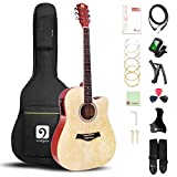 Electric Acoustic Cutaway Guitar Bundle, 41 Inch 6 String Full Size Dreadnought Cutaway Acoustic Guitar with Gig Bag, Natural High Gloss, by Vangoa