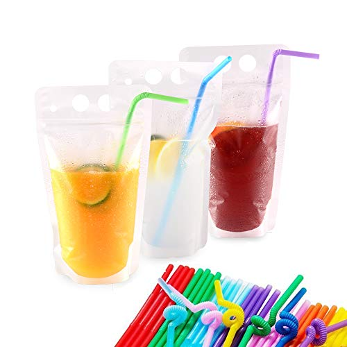 Drink Pouch Bags with Straws 100 Pcs Smoothie Pouches Reusable Plastic Drink Bags -Zipper W/Gusset Bottom Stand-up Drinking Pouches-Non-Toxic,BPA Free Drink Container By NAYARD