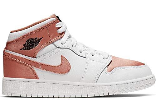 Nike Girls' Air Jordan 1 Mid (Gs) Basketball Shoes, White (White/Rose Gold/Black 190), 6 UK