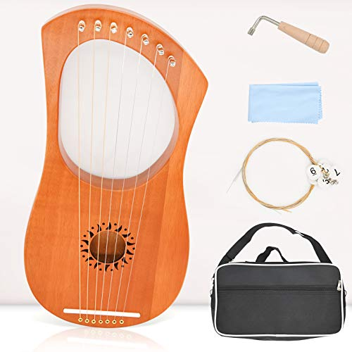 Lyre Harp Instrument, 7 Metal String Mahogany Lyre Instrument Kit With Tuning Wrench Cleaning Cloth and Black Carry Bag