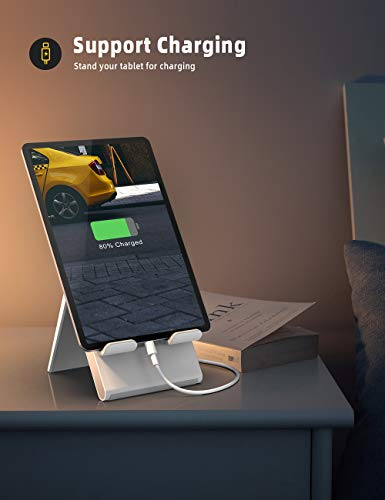 """Lamicall Adjustable Tablet Stand Holder - Foldable Desktop Stand Charging Dock for Desk Compatible with iPad Air Mini Pro 9.7,12.9, Phone 11 XS Max XR X Plus Samsung S10 S9 S8 Smartphones(4-13"""")"""