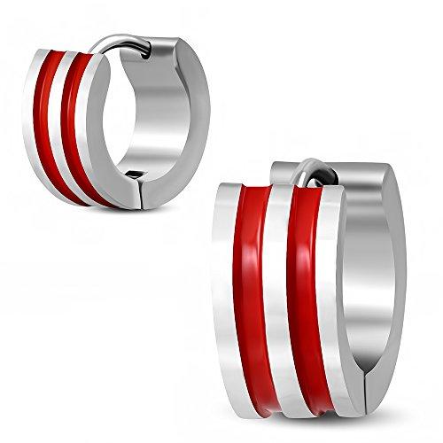 Bungsa® Rote Streifen Creolen silber 7mm Enamel - 1 Paar Klappcreolen Edelstahl (Ohrringe Huggies Ohrstecker Ohrhänger Ohrschmuck Ohrklemmen Damen Frauen Herren Mode)
