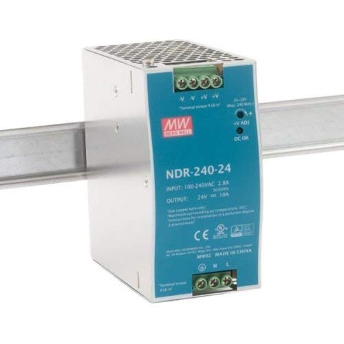 MeanWell NDR-240-24 - Fuente de alimentación para carril DIN (240 W, 24 V, 10 A, 63 mm de ancho)