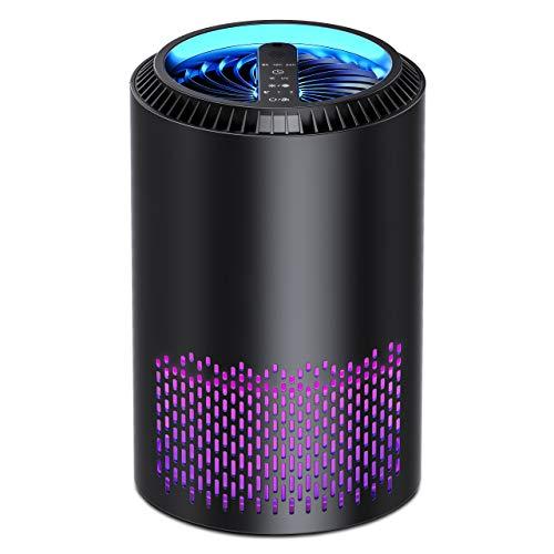 Kloudi Filtro HEPA, Purificador de Aire, 3-in-1 Limpieza UV+Difusor+Purify, Temporizador, 3 Velocidades, Elimina el 99,97% de los alérgenos Olores de Humo Polvo Polen Molde Caspa de Mascotas