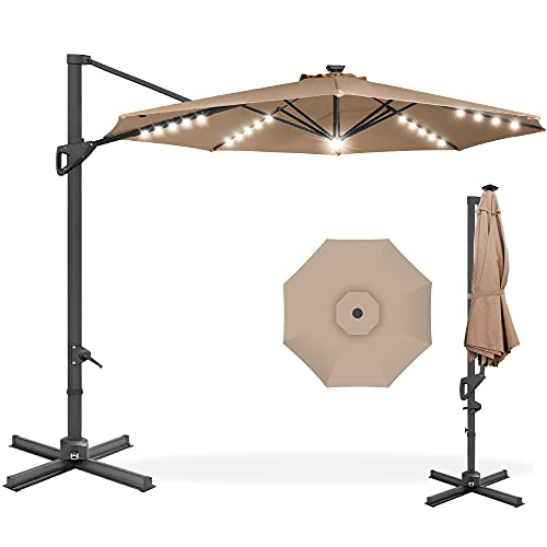 Best Choice Products 10ft Solar LED Cantilever Patio Umbrella, 360-Degree Rotation Hanging Offset Market Outdoor Sun Shade for Backyard, Deck, Poolside w/Lights, Easy Tilt, Cross Base - Tan
