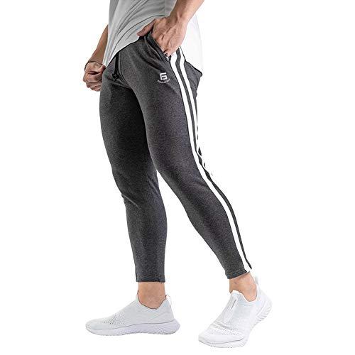 Samy ジョガーパンツ メンズ トレーニングパンツ ジム フィットネス スポーツウェア スリム スウェットパンツ ロングパンツ CK-1060 グレー+ホワイト XL