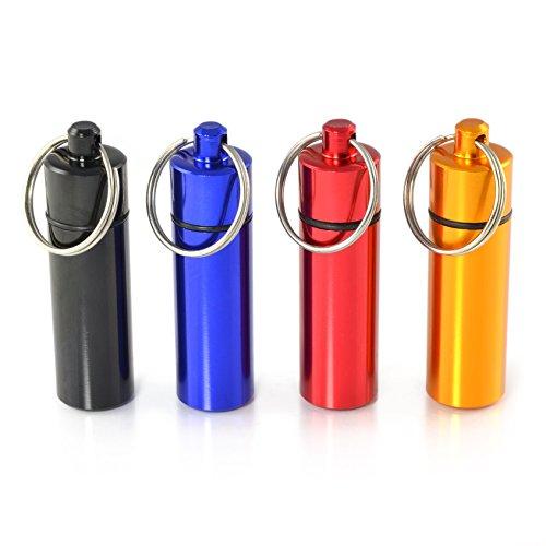 Pilulier, capsule 4 pièces en aluminium, imperméable, porte-clés stockage coloré