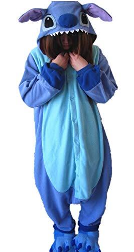 Kafferin Adult Halloween Gift Cartoon Costume Cosplay Pajamas Onesies Party Stitch (Medium, Blue Stitch)