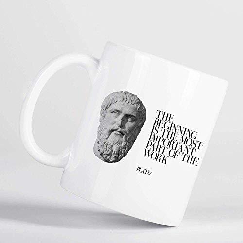 Eastlif l Comienzo es la Cita de Platón más Importante Taza Blanca del filósofo Griego Antiguo