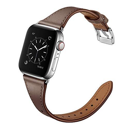 Arktis Lederarmband für Frauen kompatibel mit Apple Watch (SE, Series 6, Series 5, Series 4-40 mm) (Series 3, Series 2, Series 1-38 mm) [Echtes Leder] [Slim] mit Edelstahlschließe - Taupe