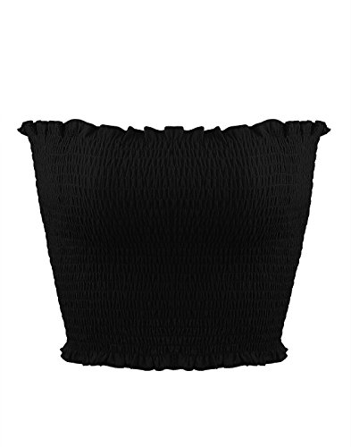 Sweetbei J Womens Strapless Pleated Summer Sexy Bandeau Tube Crop Tops Black XS