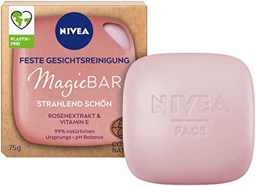 NIVEA MagicBar Feste Gesichtsreinigung Strahlend Schön (75g), Gesichtsreiniger für strahlende Haut, zertifizierte Naturkosmetik mit Rosenextrakt & Vitamin E