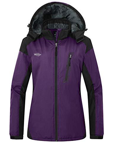 Wantdo Women's Windproof Snowboarding Jacket Winter Warm Coat for Skiing Dark Purple S