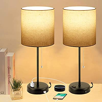 Bedside Pull Chain Table Lamps Set of 2 with USB Charging Port and AC Outlet, 3 Color Temperatures Nightstand Lamp with Linen Shape Desk Light for Bedroom Living Room Office, Dual Blubs Included.
