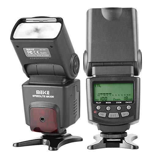 Meike MK430 TTL LCD Flash Speedlite Compatible with Canon DSLR Camera EOS 70D 77D 80D Rebel T7i T6i T6s T6 T5i T5 T4i T3i SL2 and with Standard Hot Shoe Stand