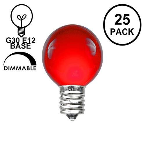 Novelty Lights 25 Pack G30 Outdoor Globe Replacement Bulbs, Red, C7/E12 Candelabra Base, 5 Watt