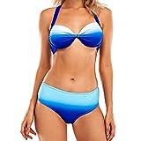 heekpek Bikinis Mujer Push Up Conjunto Bikini Halter Mujer Color Degradado...
