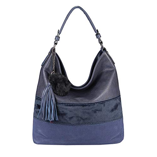 OBC Damen Tasche Shopper Bowling Hobo-Bag Leder Optik Handtasche Umhängetasche Schultertasche Beuteltasche Reisetasche Pelztasche (Blau 35x34x17 cm)