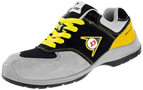 Dunlop Flying Arrow | Zapatos de Seguridad | Calzado de Trabajo S3 | con Puntera | Ligero y Transpirable | Nero/Grigio/Giallo | Talla 47