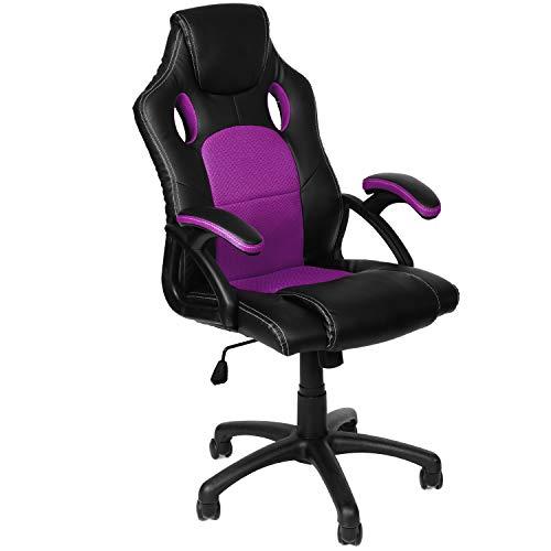 Panorama24 Gamer Stuhl Gaming Schreibtischstuhl Chefsessel Bürostuhl Ergonomisch, Lila, 9 Farbvarianten, gepolsterte Armlehnen, Wippmechanik, belastbar bis 150 kg, Lift TÜV geprüft