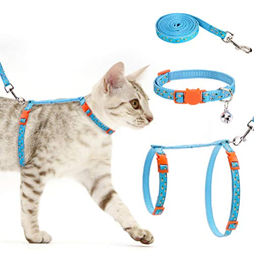 EXPAWLORER Cat Harness with Leash and Collar Set Durable Adjustable Cat Harness Adjustable Pineapple Pattern H-Shape Cat Harness Set Escape Proof for Cat Puppies Wearing
